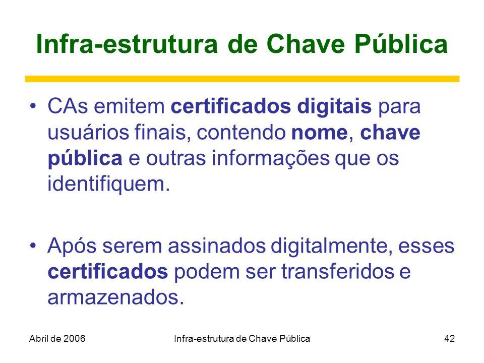 Abril de 2006Infra-estrutura de Chave Pública42 Infra-estrutura de Chave Pública CAs emitem certificados digitais para usuários finais, contendo nome,
