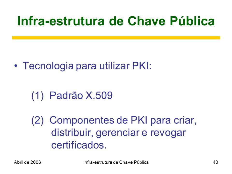 Abril de 2006Infra-estrutura de Chave Pública43 Infra-estrutura de Chave Pública Tecnologia para utilizar PKI: (1) Padrão X.509 (2) Componentes de PKI