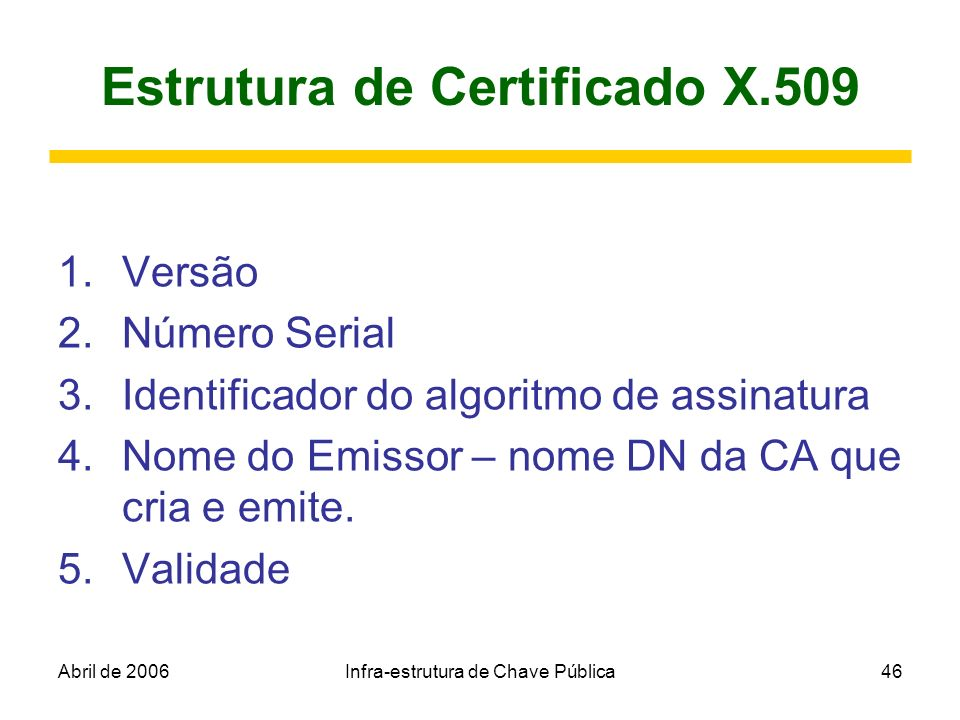 Abril de 2006Infra-estrutura de Chave Pública46 Estrutura de Certificado X.509 1.Versão 2.Número Serial 3.Identificador do algoritmo de assinatura 4.N