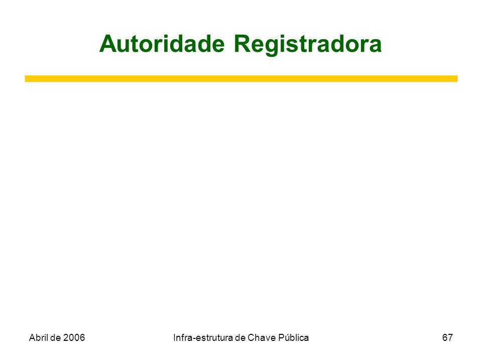 Abril de 2006Infra-estrutura de Chave Pública67 Autoridade Registradora