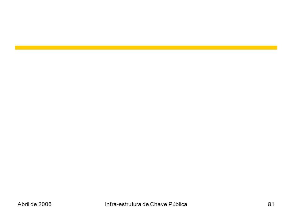 Abril de 2006Infra-estrutura de Chave Pública81