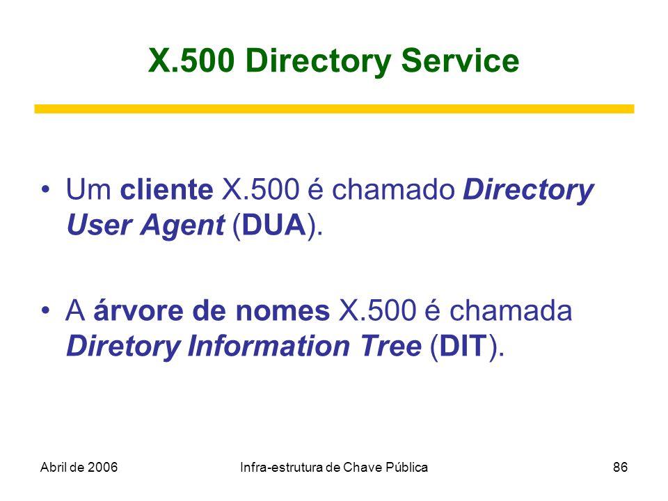 Abril de 2006Infra-estrutura de Chave Pública86 X.500 Directory Service Um cliente X.500 é chamado Directory User Agent (DUA). A árvore de nomes X.500