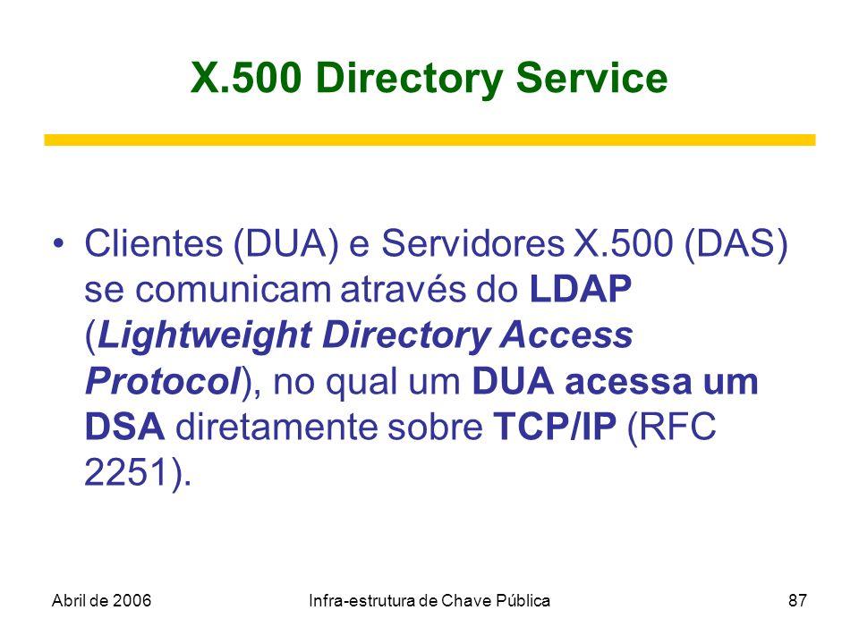 Abril de 2006Infra-estrutura de Chave Pública87 X.500 Directory Service Clientes (DUA) e Servidores X.500 (DAS) se comunicam através do LDAP (Lightwei
