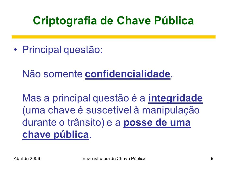 Abril de 2006Infra-estrutura de Chave Pública9 Criptografia de Chave Pública Principal questão: Não somente confidencialidade. Mas a principal questão