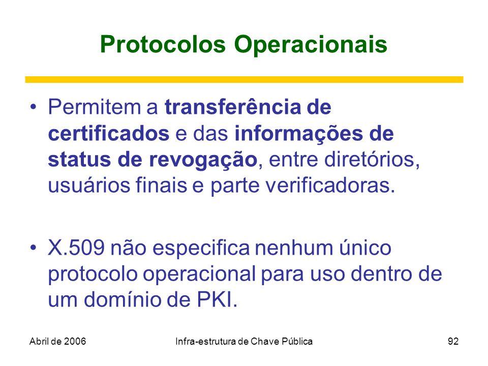 Abril de 2006Infra-estrutura de Chave Pública92 Protocolos Operacionais Permitem a transferência de certificados e das informações de status de revoga
