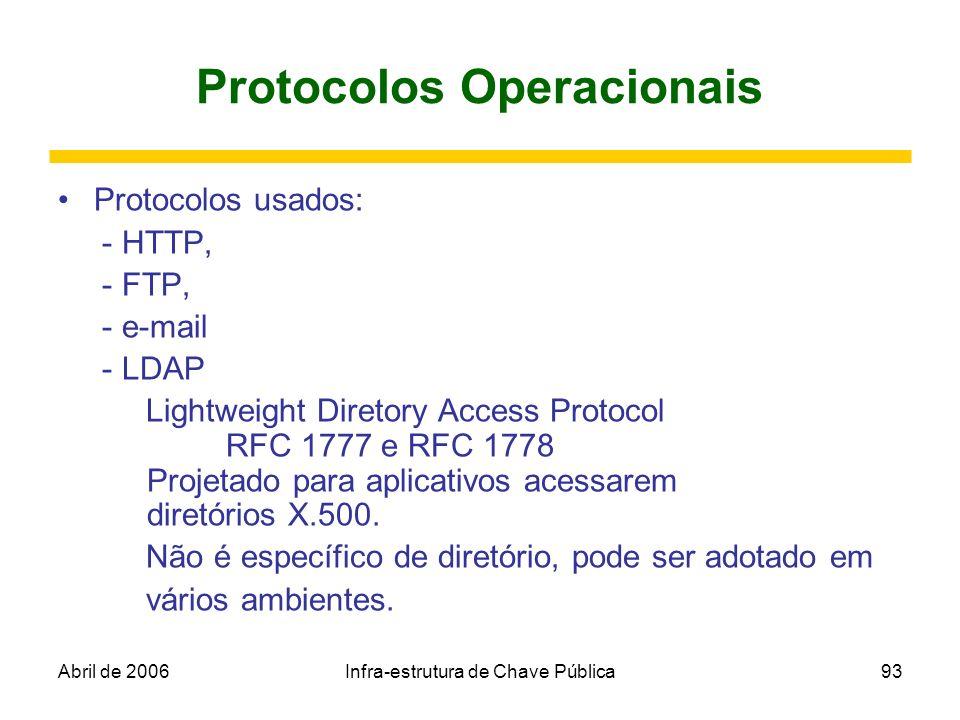 Abril de 2006Infra-estrutura de Chave Pública93 Protocolos Operacionais Protocolos usados: - HTTP, - FTP, - e-mail - LDAP Lightweight Diretory Access