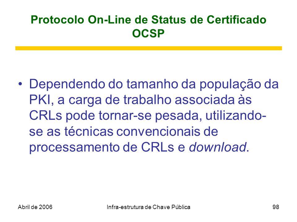 Abril de 2006Infra-estrutura de Chave Pública98 Protocolo On-Line de Status de Certificado OCSP Dependendo do tamanho da população da PKI, a carga de