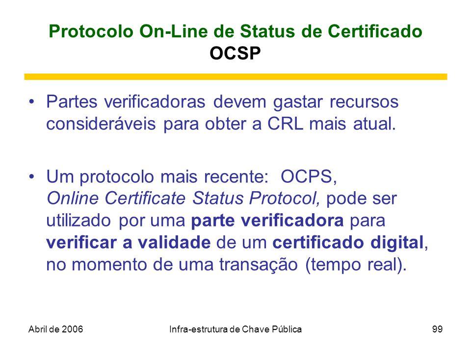 Abril de 2006Infra-estrutura de Chave Pública99 Protocolo On-Line de Status de Certificado OCSP Partes verificadoras devem gastar recursos consideráve
