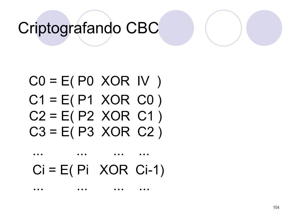 Criptografando CBC C0 = E( P0 XOR IV ) C1 = E( P1 XOR C0 ) C2 = E( P2 XOR C1 ) C3 = E( P3 XOR C2 )............ Ci = E( Pi XOR Ci-1)............ 104