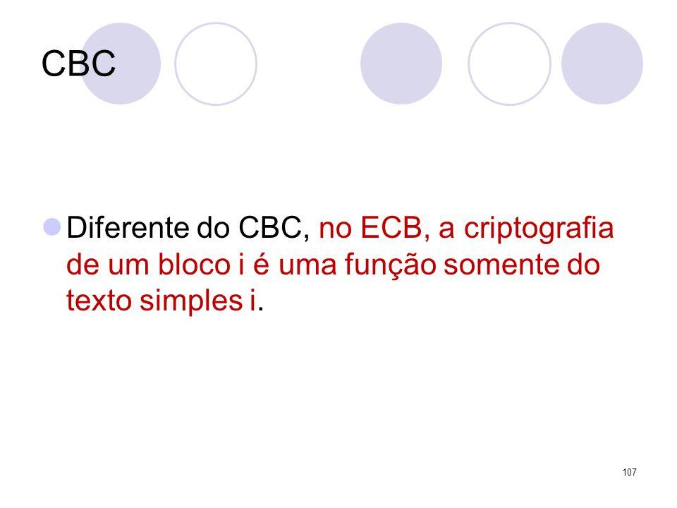 CBC Diferente do CBC, no ECB, a criptografia de um bloco i é uma função somente do texto simples i. 107