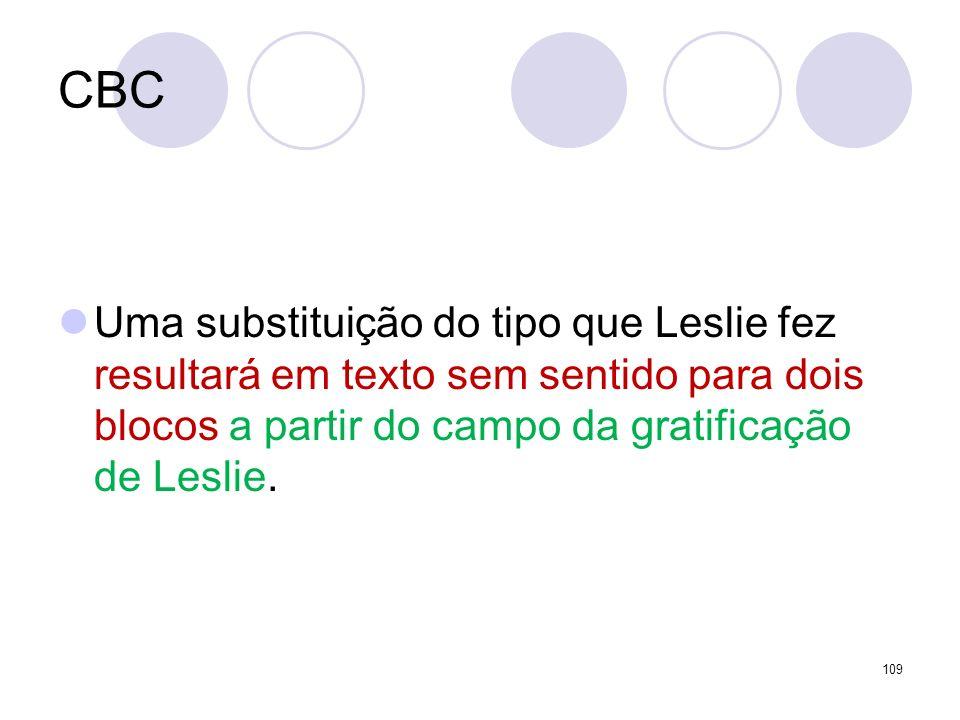 CBC Uma substituição do tipo que Leslie fez resultará em texto sem sentido para dois blocos a partir do campo da gratificação de Leslie. 109