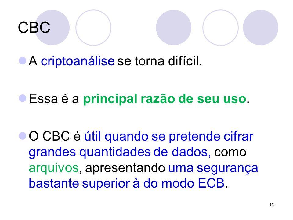 CBC A criptoanálise se torna difícil. Essa é a principal razão de seu uso. O CBC é útil quando se pretende cifrar grandes quantidades de dados, como a