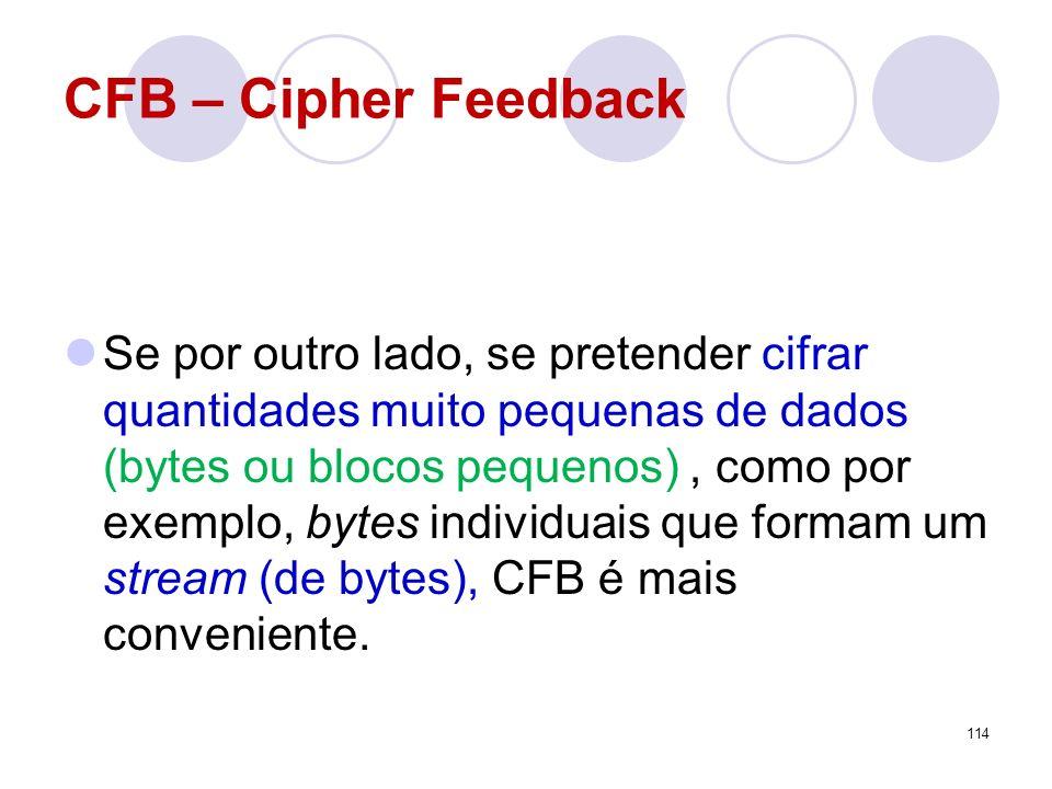 CFB – Cipher Feedback Se por outro lado, se pretender cifrar quantidades muito pequenas de dados (bytes ou blocos pequenos), como por exemplo, bytes i