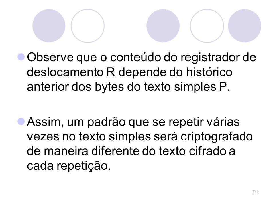Observe que o conteúdo do registrador de deslocamento R depende do histórico anterior dos bytes do texto simples P. Assim, um padrão que se repetir vá