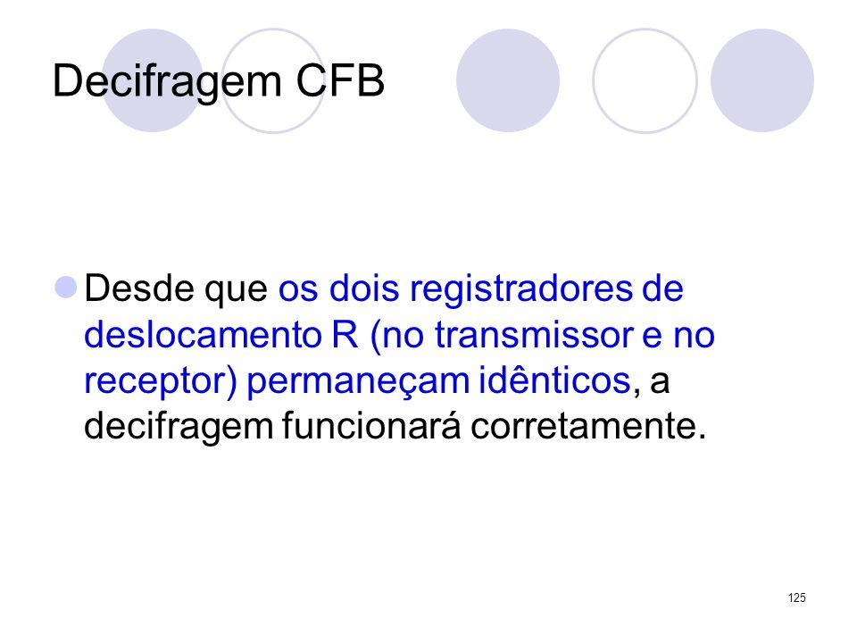 Decifragem CFB Desde que os dois registradores de deslocamento R (no transmissor e no receptor) permaneçam idênticos, a decifragem funcionará corretam