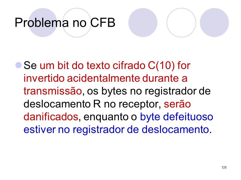Problema no CFB Se um bit do texto cifrado C(10) for invertido acidentalmente durante a transmissão, os bytes no registrador de deslocamento R no rece