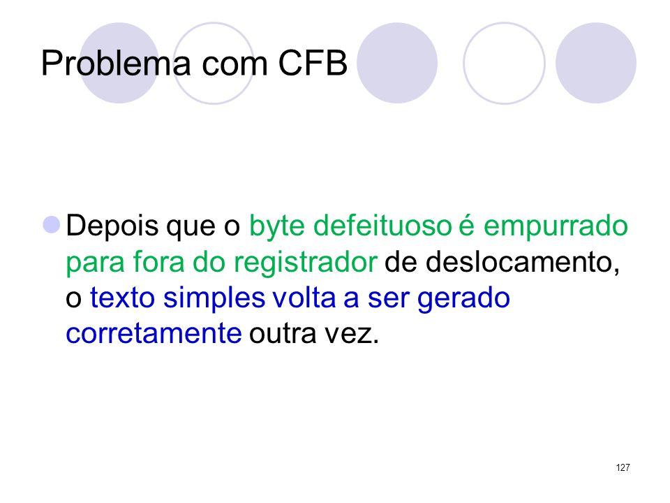 Problema com CFB Depois que o byte defeituoso é empurrado para fora do registrador de deslocamento, o texto simples volta a ser gerado corretamente ou