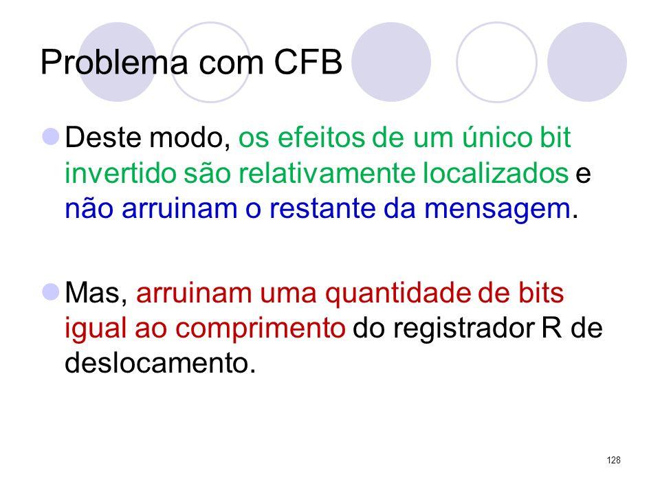 Problema com CFB Deste modo, os efeitos de um único bit invertido são relativamente localizados e não arruinam o restante da mensagem. Mas, arruinam u