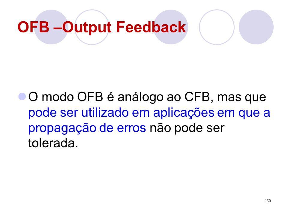 OFB –Output Feedback O modo OFB é análogo ao CFB, mas que pode ser utilizado em aplicações em que a propagação de erros não pode ser tolerada. 130