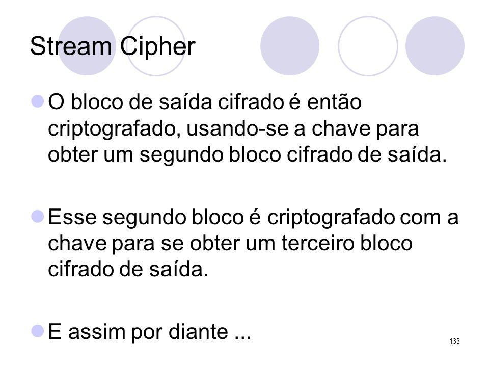 Stream Cipher O bloco de saída cifrado é então criptografado, usando-se a chave para obter um segundo bloco cifrado de saída. Esse segundo bloco é cri