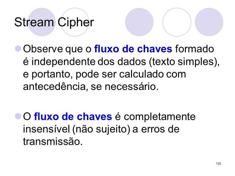 Stream Cipher Observe que o fluxo de chaves formado é independente dos dados (texto simples), e portanto, pode ser calculado com antecedência, se nece