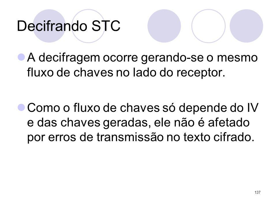 Decifrando STC A decifragem ocorre gerando-se o mesmo fluxo de chaves no lado do receptor. Como o fluxo de chaves só depende do IV e das chaves gerada