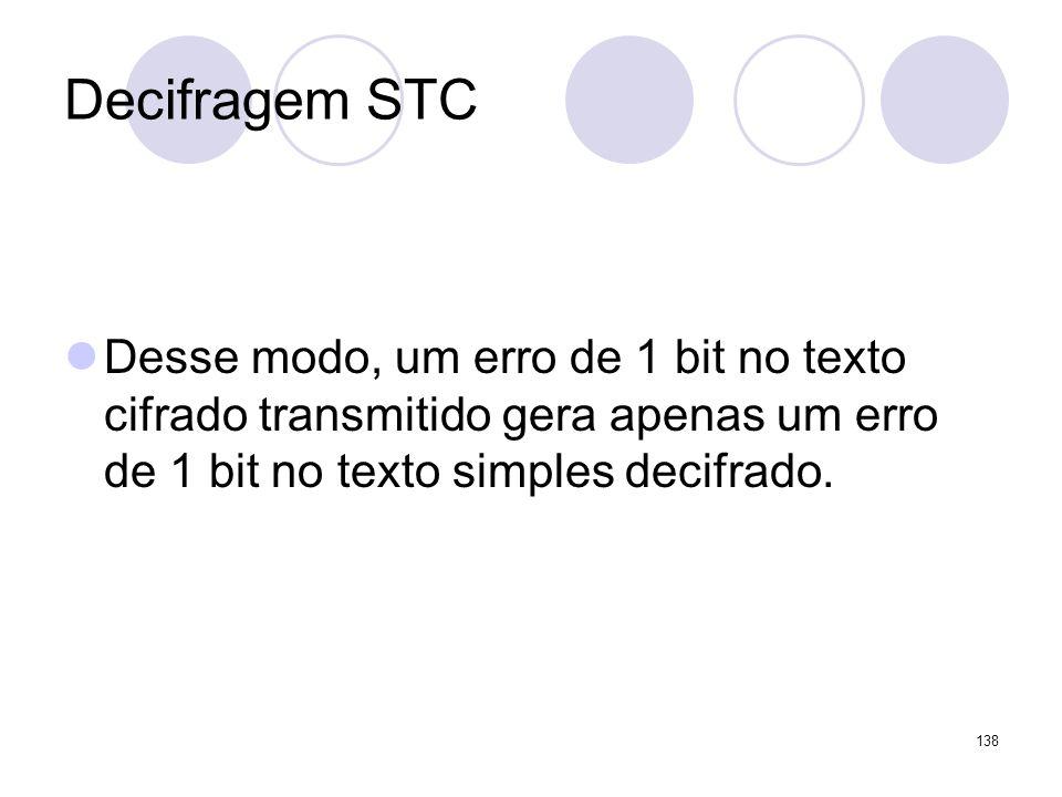 Decifragem STC Desse modo, um erro de 1 bit no texto cifrado transmitido gera apenas um erro de 1 bit no texto simples decifrado. 138