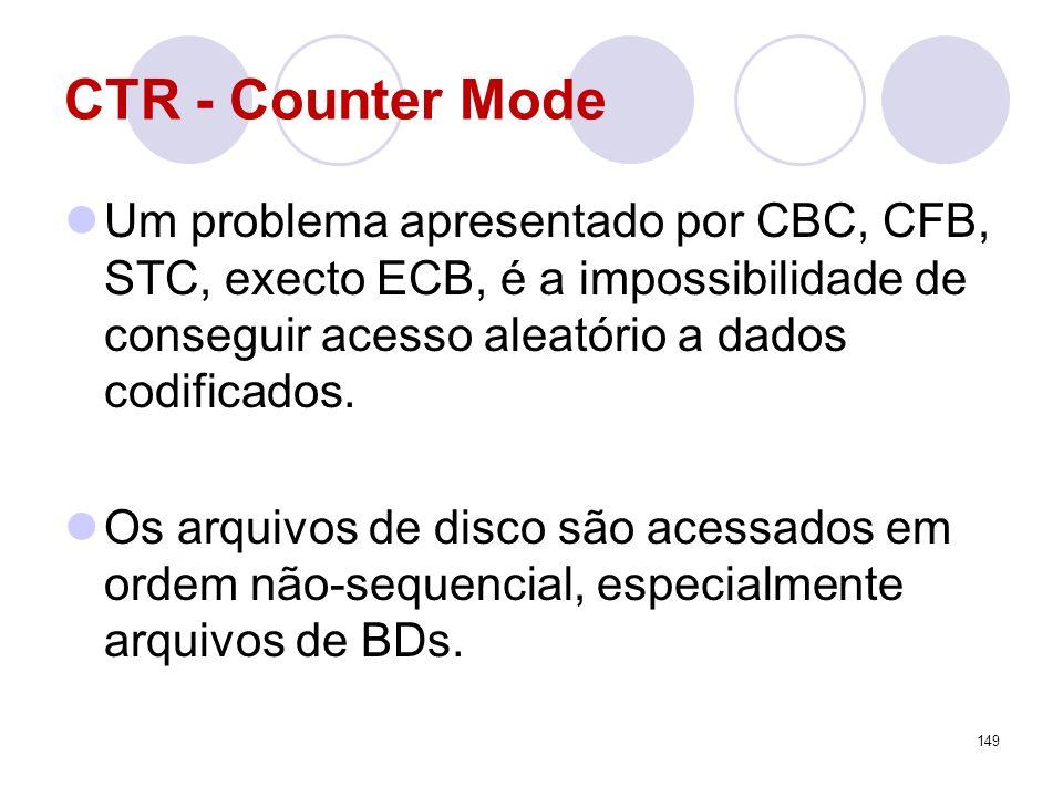 CTR - Counter Mode Um problema apresentado por CBC, CFB, STC, execto ECB, é a impossibilidade de conseguir acesso aleatório a dados codificados. Os ar