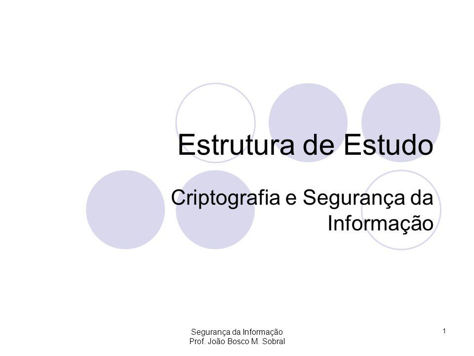 Segurança da Informação Prof. João Bosco M. Sobral 1 Estrutura de Estudo Criptografia e Segurança da Informação
