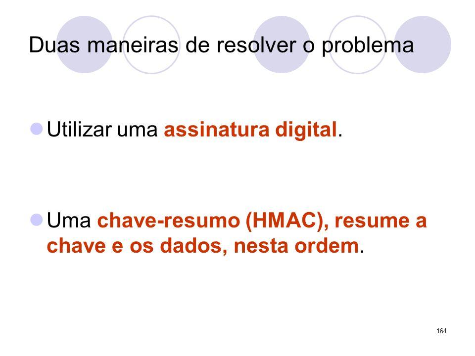Duas maneiras de resolver o problema Utilizar uma assinatura digital. Uma chave-resumo (HMAC), resume a chave e os dados, nesta ordem. 164