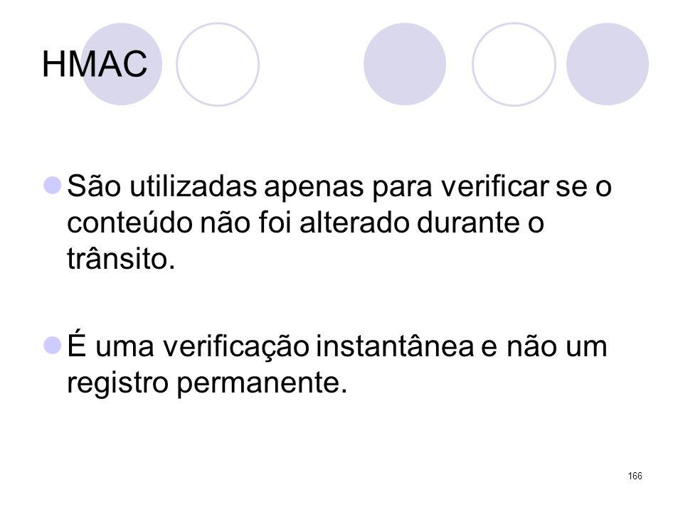 HMAC São utilizadas apenas para verificar se o conteúdo não foi alterado durante o trânsito. É uma verificação instantânea e não um registro permanent