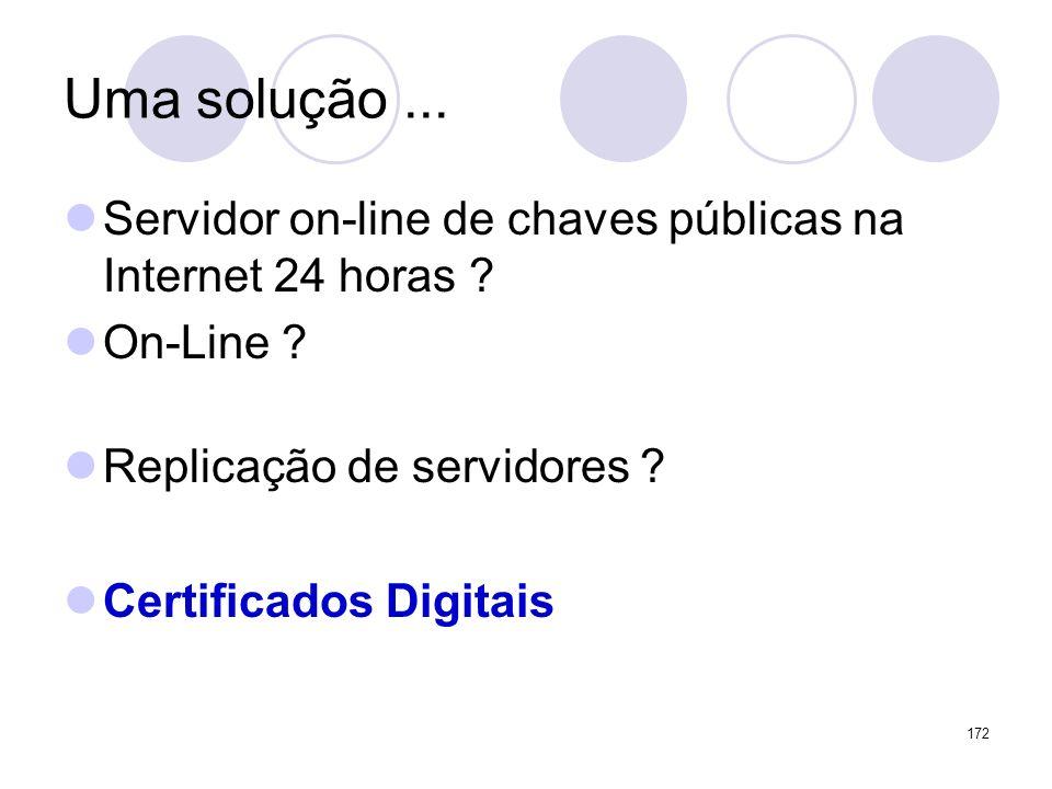 Uma solução... Servidor on-line de chaves públicas na Internet 24 horas ? On-Line ? Replicação de servidores ? Certificados Digitais 172