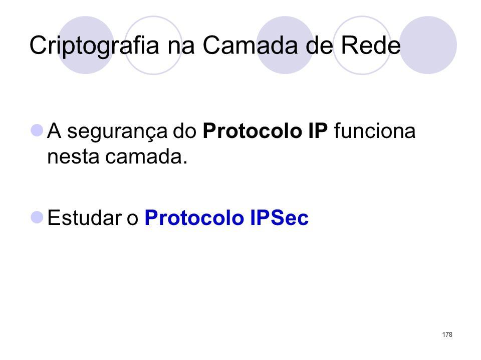 Criptografia na Camada de Rede A segurança do Protocolo IP funciona nesta camada. Estudar o Protocolo IPSec 178