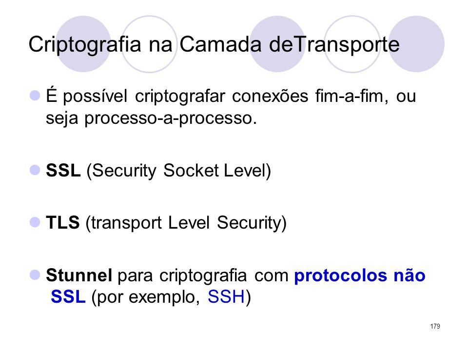 Criptografia na Camada deTransporte É possível criptografar conexões fim-a-fim, ou seja processo-a-processo. SSL (Security Socket Level) TLS (transpor