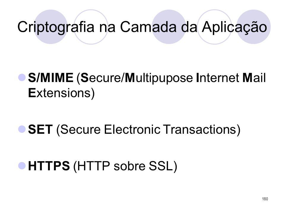 Criptografia na Camada da Aplicação S/MIME (Secure/Multipupose Internet Mail Extensions) SET (Secure Electronic Transactions) HTTPS (HTTP sobre SSL) 1