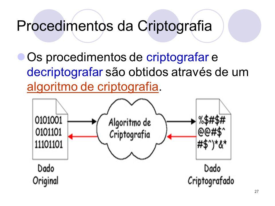 Procedimentos da Criptografia Os procedimentos de criptografar e decriptografar são obtidos através de um algoritmo de criptografia. 27
