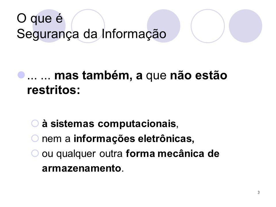 O que é Segurança da Informação...... mas também, a que não estão restritos: à sistemas computacionais, nem a informações eletrônicas, ou qualquer out