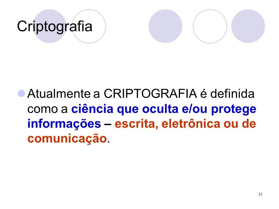 Criptografia Atualmente a CRIPTOGRAFIA é definida como a ciência que oculta e/ou protege informações – escrita, eletrônica ou de comunicação. 31