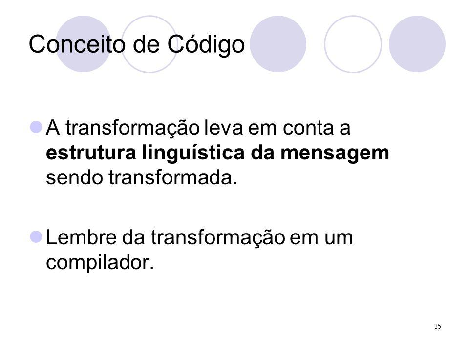Conceito de Código A transformação leva em conta a estrutura linguística da mensagem sendo transformada. Lembre da transformação em um compilador. 35