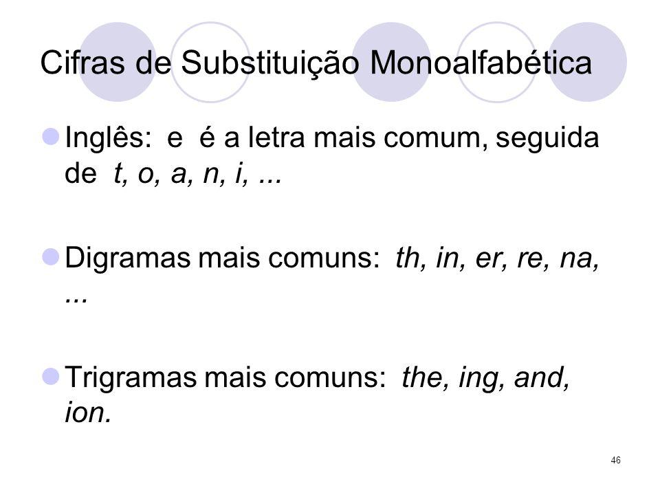 Cifras de Substituição Monoalfabética Inglês: e é a letra mais comum, seguida de t, o, a, n, i,... Digramas mais comuns: th, in, er, re, na,... Trigra
