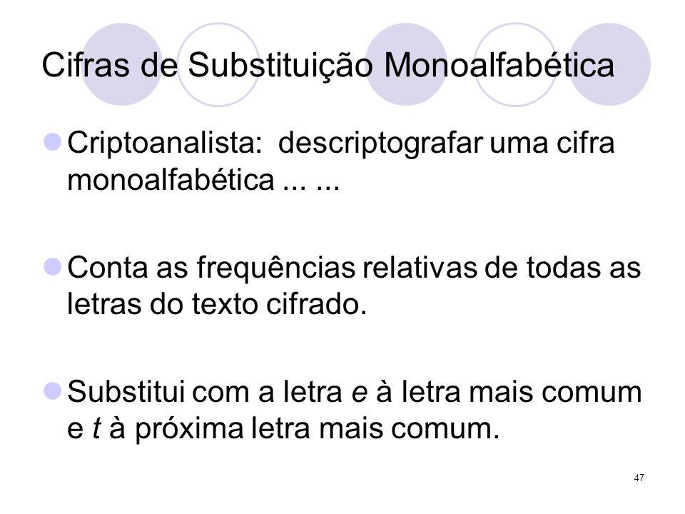 Cifras de Substituição Monoalfabética Criptoanalista: descriptografar uma cifra monoalfabética...... Conta as frequências relativas de todas as letras