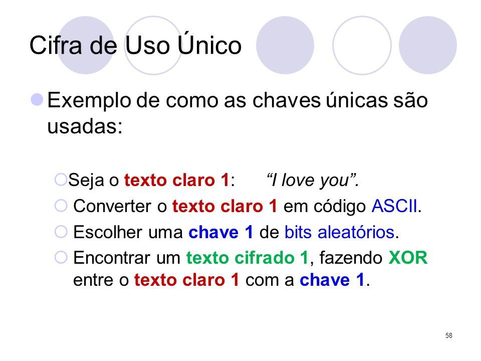 Cifra de Uso Único Exemplo de como as chaves únicas são usadas: Seja o texto claro 1: I love you. Converter o texto claro 1 em código ASCII. Escolher