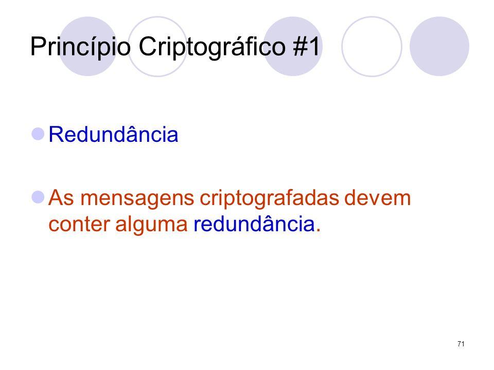 Princípio Criptográfico #1 Redundância As mensagens criptografadas devem conter alguma redundância. 71