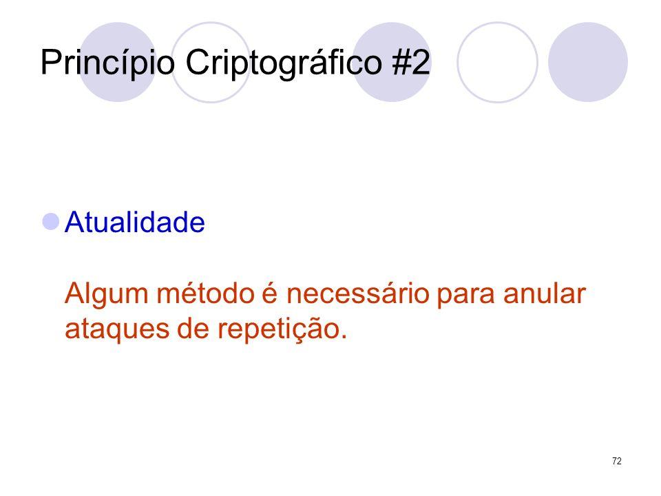 Princípio Criptográfico #2 Atualidade Algum método é necessário para anular ataques de repetição. 72