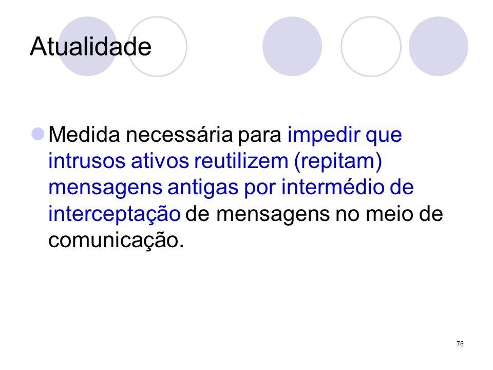 Atualidade Medida necessária para impedir que intrusos ativos reutilizem (repitam) mensagens antigas por intermédio de interceptação de mensagens no m