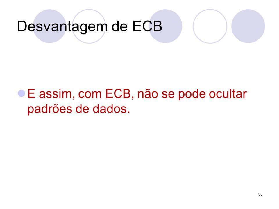 Desvantagem de ECB E assim, com ECB, não se pode ocultar padrões de dados. 86