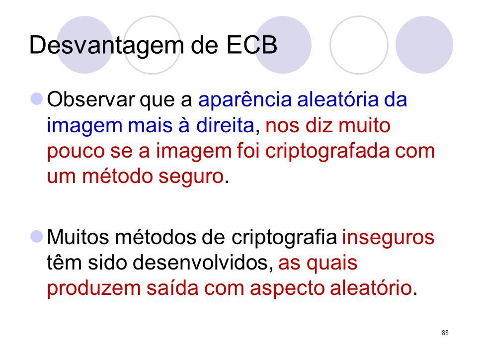 Desvantagem de ECB Observar que a aparência aleatória da imagem mais à direita, nos diz muito pouco se a imagem foi criptografada com um método seguro