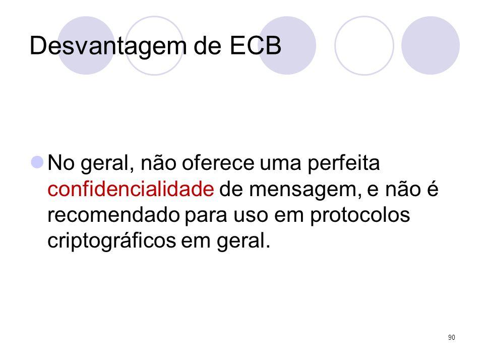 Desvantagem de ECB No geral, não oferece uma perfeita confidencialidade de mensagem, e não é recomendado para uso em protocolos criptográficos em gera