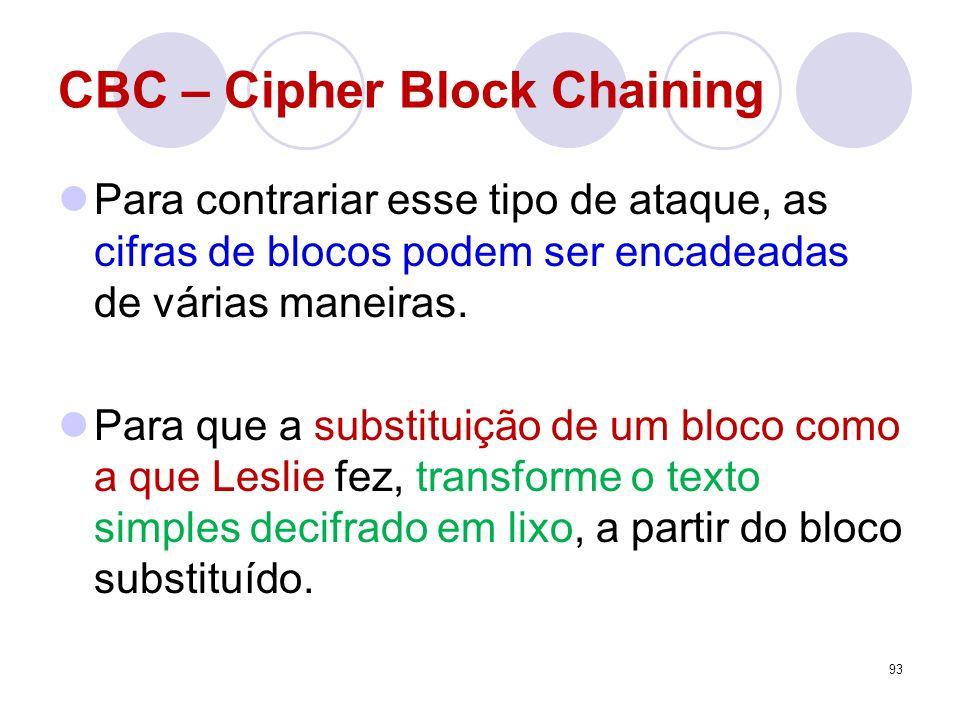 CBC – Cipher Block Chaining Para contrariar esse tipo de ataque, as cifras de blocos podem ser encadeadas de várias maneiras. Para que a substituição