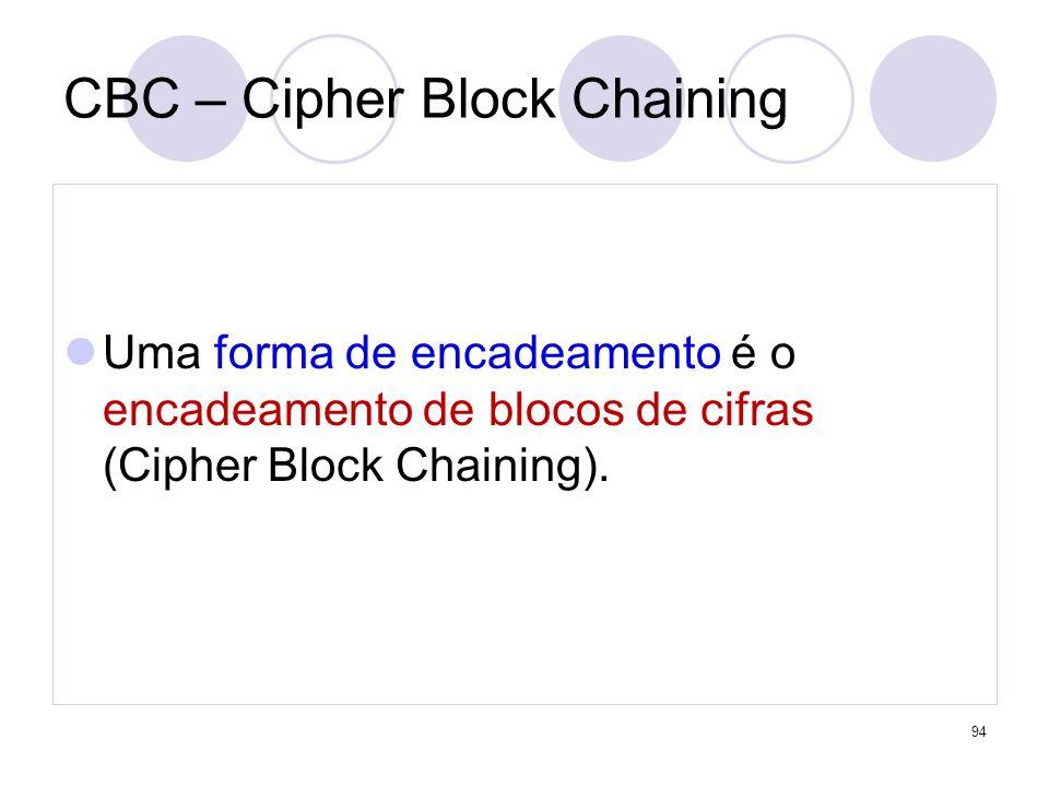 CBC – Cipher Block Chaining Uma forma de encadeamento é o encadeamento de blocos de cifras (Cipher Block Chaining). 94